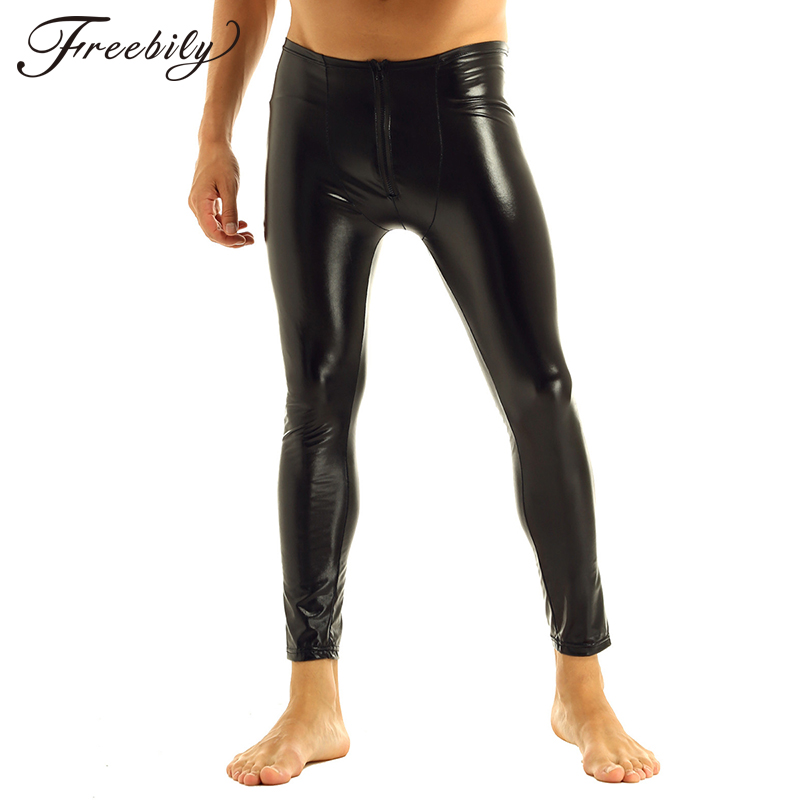 Mens Patent Leather Pants Stage Skinny Performance Pants Stretch Leggings Men Sexy Bodywear Trousers Underwear Clubwear
