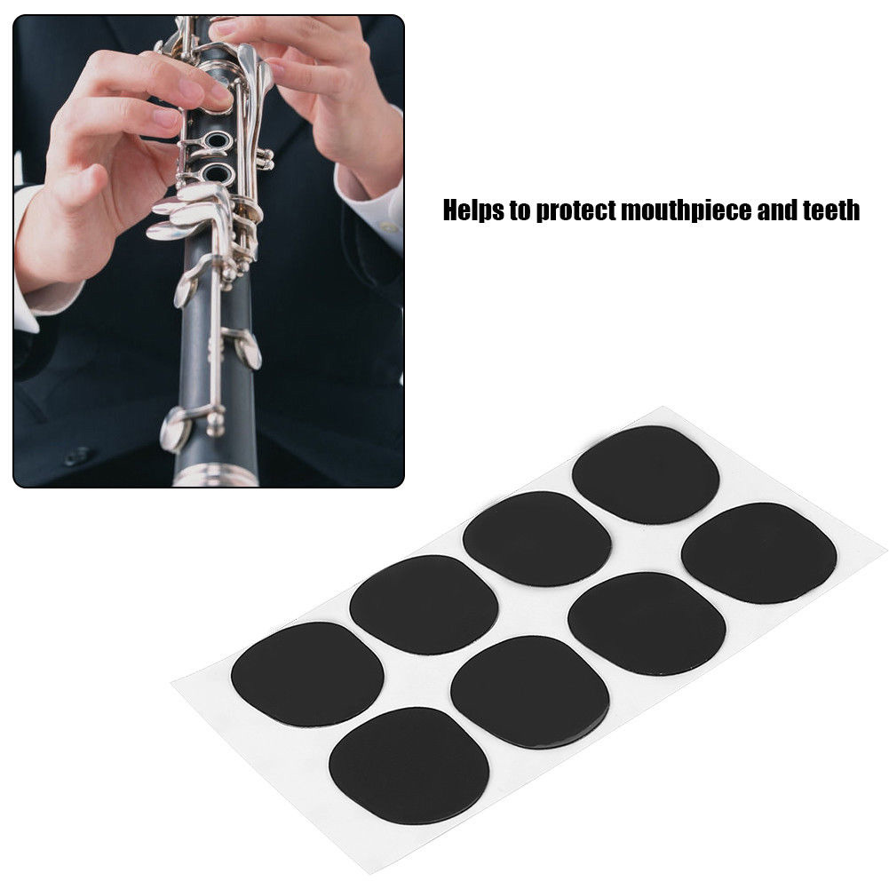 8pcs 0.8mm Mouthpiece Pad Saxophone Patches Soft Portable Round Music Small Cushions Rest Silicone Alto Tenor Replacement Black