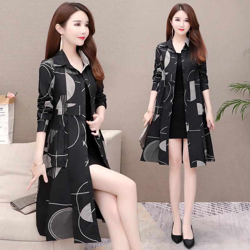 Shirt Windbreaker Female Long Korean 2019 New Slim Casual Large Size Trench Coat Thin Section Spring Autumn Coat Lady Print f184 22