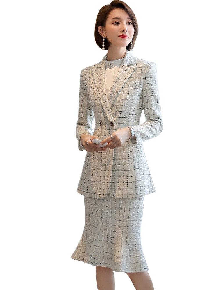 Dik Materiaal Mode Rok Pak Vrouwelijke Pak Zwarte Jas Pak Werkkleding Vrouwelijke Kantoor Pak Ontwerp Winter Pak - 4