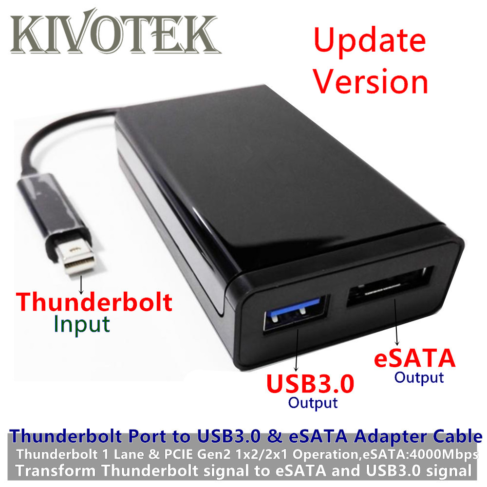 New Thunderbolt2 to USB3.0+eSATAIII Adapter Cable TBT 20M Single Port Usb3.0A Female Connector Dongle For PC Computer Hard Disk