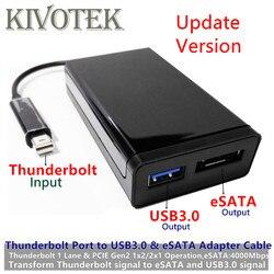 Nieuwe Thunderbolt2 Om USB3.0 + Esataiii Adapter Kabel Tbt 20M Enkele Poort Usb3.0A Vrouwelijke Connector Dongle Voor Pc Computer harde Schijf
