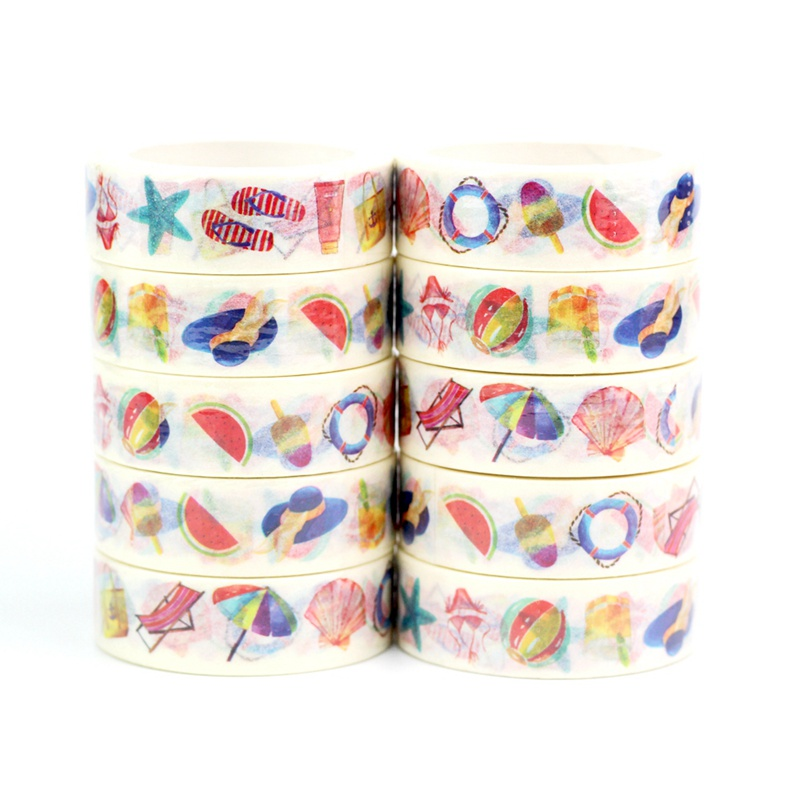 Starfish Shell Sunshine Washi Tapes Japanese Paper Kawaii Scrapbooking Tools Masking Tape Christmas Photo Album Diy Stationery