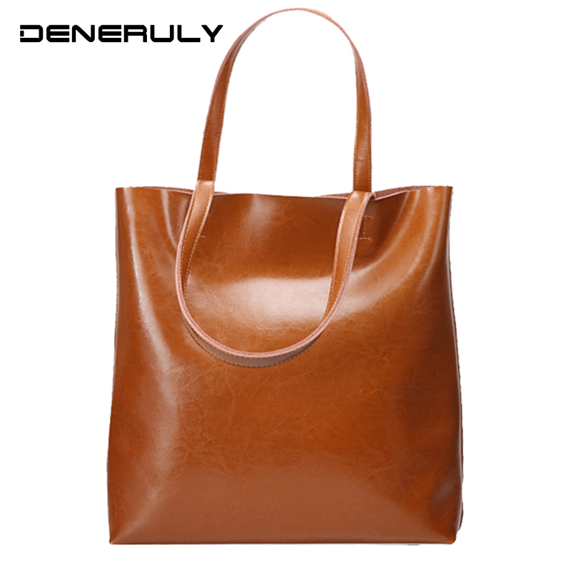 New Pure Genuine Leather Female Bags Vintage Soft Cow Leather Handbags High Capacity Tote Bags For Women Oil Wax Crossbody Bag in Top Handle Bags from Luggage Bags