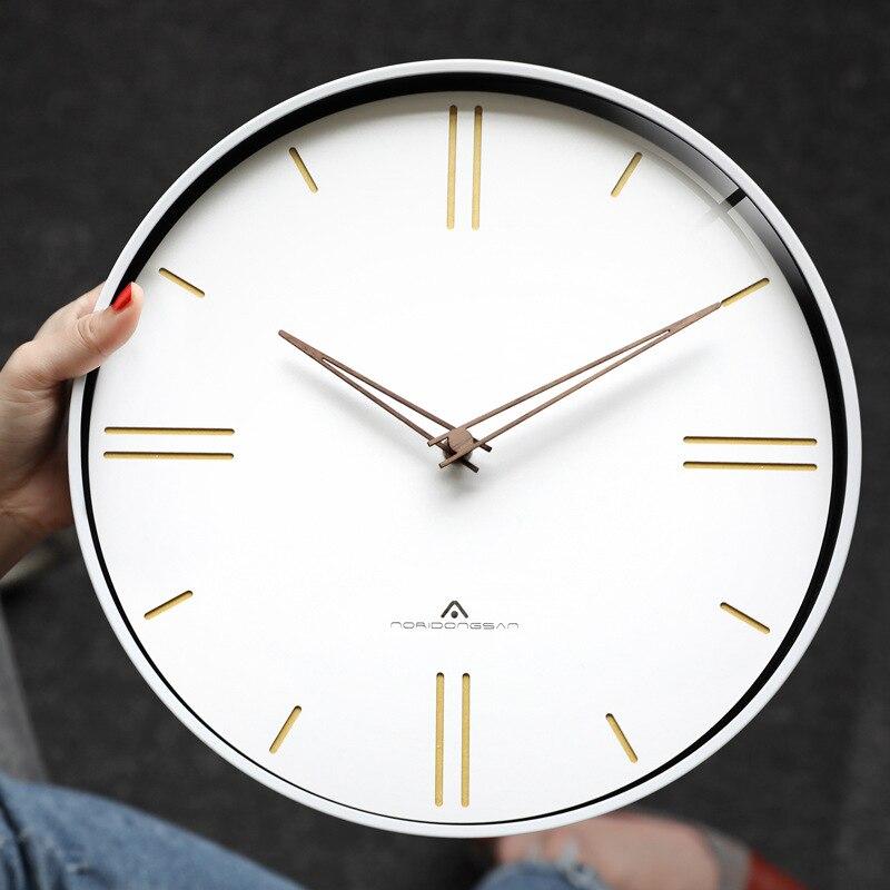 Horloge murale de luxe européenne muet mode américaine rétro horloge murale ronde romaine numérique chambre montres murales décor à la maison 6W905 - 5