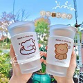 Coffee Milk Cup with Spoon Cup Female Water Cup Simple Frosted Double Glass Student Cute Bear Insulated Water Bottle with Lid