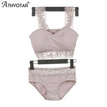 ATHVOTAR – ensemble de sous-vêtements en coton, sous-vêtements mignons, Sexy, Push-Up en dentelle, slip sans couture, culotte confortable, costume de soutien-gorge