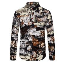 Stand collar Shirt for Men Hip hop graffiti Unique button design Linen Shirts Men Casual Blouse Man New stand collar fashion leaves printed vintage button design shirts for men