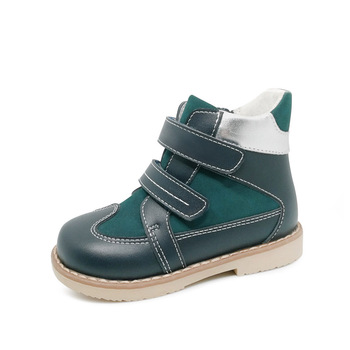 Ortoluckland Boys Genuine Leather Shoes Orthopedic Footwear For Children Kid Hook Loop Casual Boots Varus Valgus Zipper Shoes