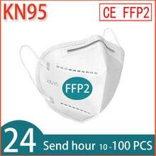 Máscara facial ffp2 KN95 antipolvo, mascarilla de boca con filtro, ventilación, 10-200 uds.