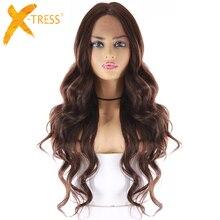 Парики из синтетических волос среднего и коричневого цвета для женщин, длинные волнистые парики для женщин из термостойкого волокна, длина 24 дюйма, передняя часть парика
