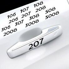 4 шт винил отделка наклейки автомобильные дверные ручки окна стеклоочиститель наклейки для Peugeot 206 207 208 306 307 308 508 106 107 108 2008 3008 5008