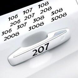 4PCS Decalques de Vinil Guarnição Janela Limpador Maçaneta Da Porta Do Carro Adesivos para Peugeot 206 207 208 306 307 308 508 106 107 108 2008 3008 5008