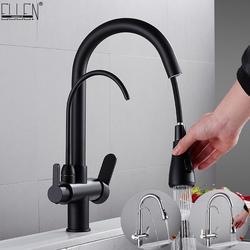 Badrandcombinaties Zwart Keuken Kranen Pull Out Hot Cold Water Filter Kraan Voor Keuken Drie Manieren Sink Mixer Keuken Kraan ELK9139B