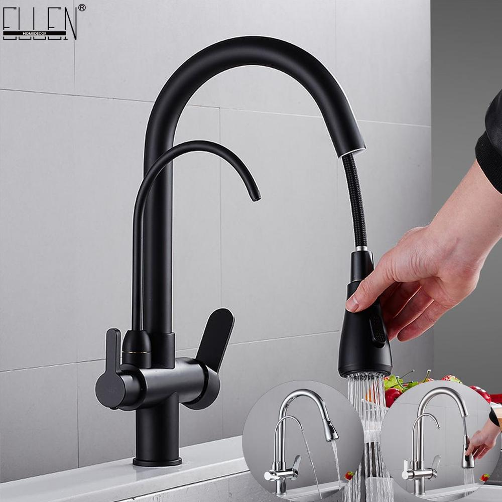 Deck Mounted Black Kitchen Faucets Pull Out Hot Cold Water Filter Tap For Kitchen Three Ways Sink Mixer Kitchen Faucet ELK9139B
