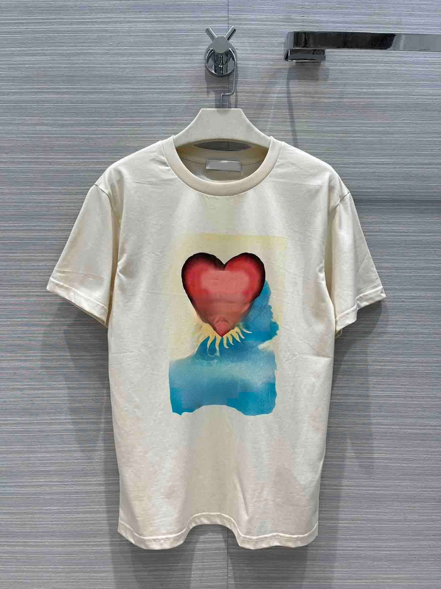 Luxury Heart Print Casual T-shirts for Women Summer 2021 High-end Brand Soft Short Sleeve O-neck Loose Beige Silk Blended Tshirt
