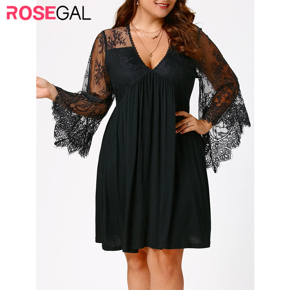 Rosegal <font><b>Dress</b></font> Women <font><b>Plus</b></font> <font><b>Size</b></font> 5XL <font><b>Sexy</b></font> Lace Flare Sleeve Empire Waist Tunic <font><b>Dresses</b></font> 2018 Autumn Casual Vestido De Festa Big <font><b>Size</b></font> image