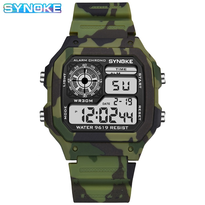 Synoke Sport Watch Men Boys Student Military Camouflage Green Colorful Light Alarm Date Week Cool Man Digital Wristwatch