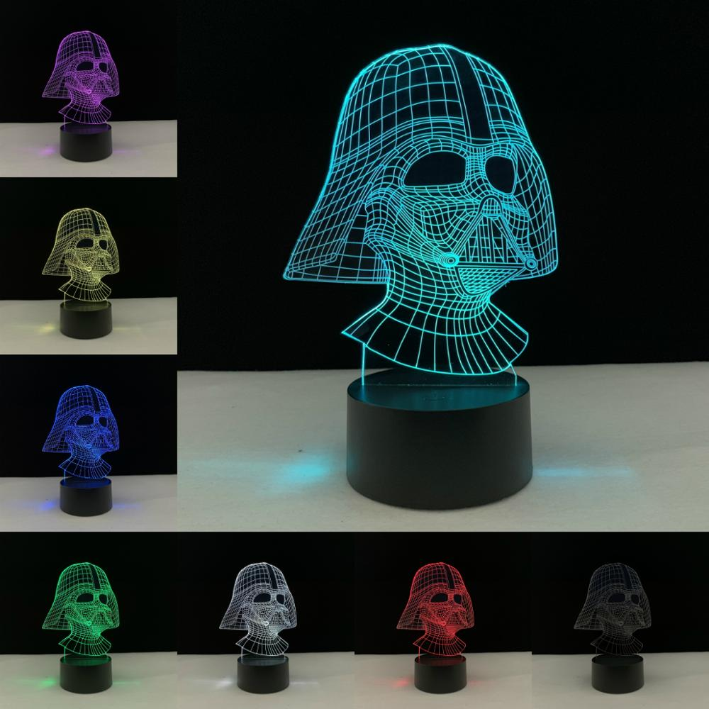Cartoon Star Wars Darth Vader Knight Children's 3D Lamp LED USB Mood Night Light Christmas Gift Boy Friend Kid Toy Luminaria