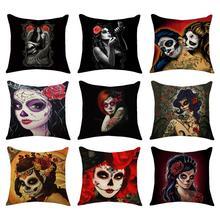 Halloween Pillowcase Beauty Skeleton Series Linen Pillow Case Cushion Cover Sofa Throw Covers Decor Supplies