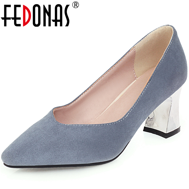 FEDONAS 2020 New Women Solid Color Flock Shoes Wedding Party Pointed Toe Thick Heel Shallow Elegant Concise Casual Shoes Woman