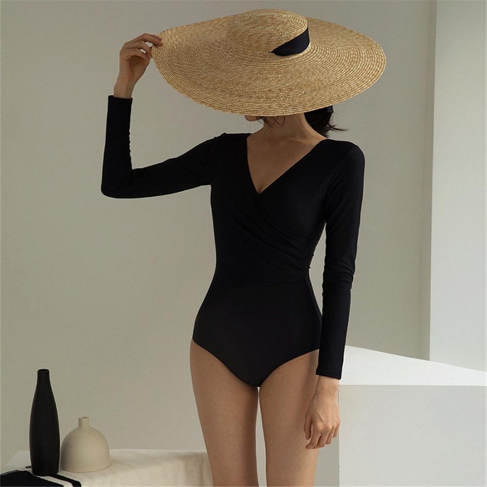 Пикантный слитный купальник с длинным рукавом, Женская однотонная одежда для плавания, монокини, купальный костюм с пуш ап, черный купальный костюм с защитой от сыпи, купальный костюм для серфинга| |   | АлиЭкспресс