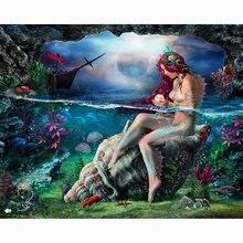 Diy картина по номерам Русалка Картина маслом Раскраска 40x50
