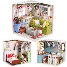 New 3D Wooden Doll House Villa Furniture DIY Miniature Model LED Light 3D Wooden Dollhouse Christmas Gifts Toys For Children цена 2017