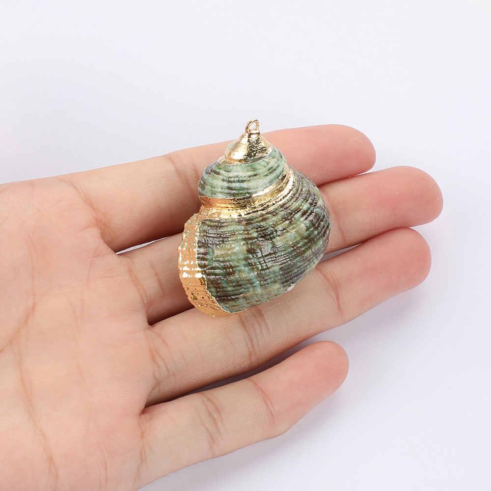 3 יח'\חבילה גדול 40mm גולדפילד טבעי ים קונכייה קסם תליון סיטונאי אופנה פגזי תליון אביזרי תכשיטים אופנתיים