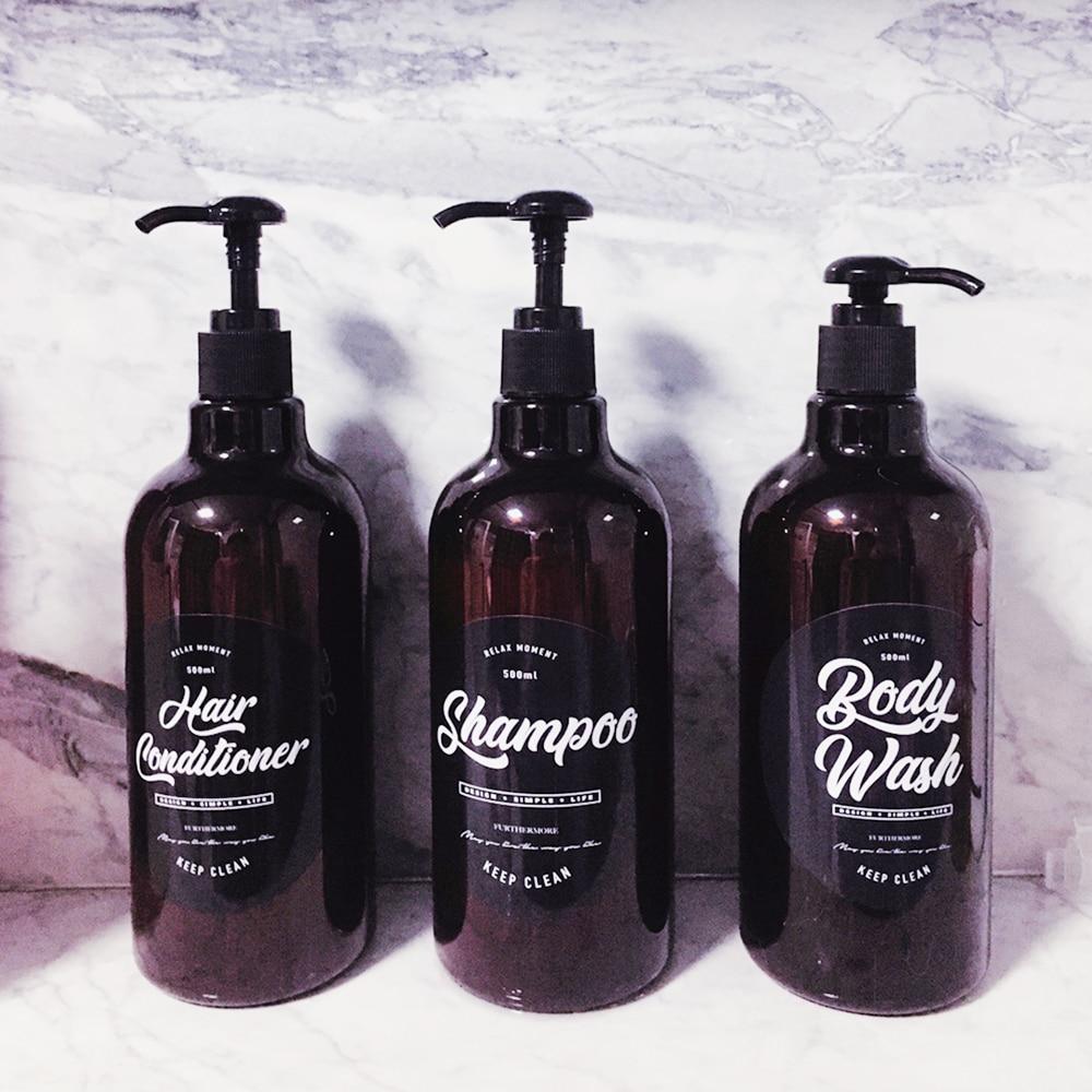 500ml Body wash Bottle Chic Bath Plastic Shampoo Hair Conditioner Bottles Scandinavian Brown Liquid Storage Bottle