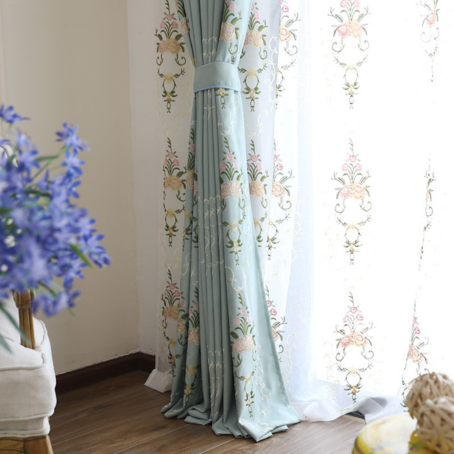 New Euro Style Curtain – Cotton / Linen Embroidered Atmospheric and Fresh Gauze