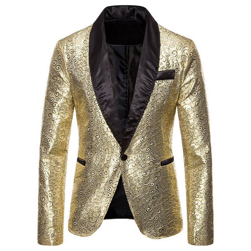 2019 Mens Suit Jacket Golden Sequin Shinny Blazer Luxury Slim Fit Wedding Party Jacket DJ Stage Clothing Brand Mens Suit Coat