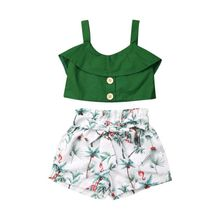 2020 Summer Toddler Kids Baby Girls Clothes Sets Ruffles Sol
