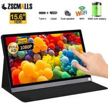 Monitor Super portátil de 15,6 pulgadas, pantalla táctil, Wifi, batería para PC, portátil, teléfono, PS4, Switch, Xbox, Huawei, Samsung, Bluetooth