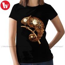 Chameleon T-Shirt Steampunk Chameleon T Shirt Trendy Street Style Women tshirt Short-Sleeve Ladies Tee Shirt