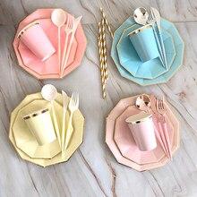 40 pçs/lote conjunto de utensílios de mesa descartáveis festa ouro cor sólida copos de papel placas aniversário chá de bebê suprimentos carnaval decoração do casamento