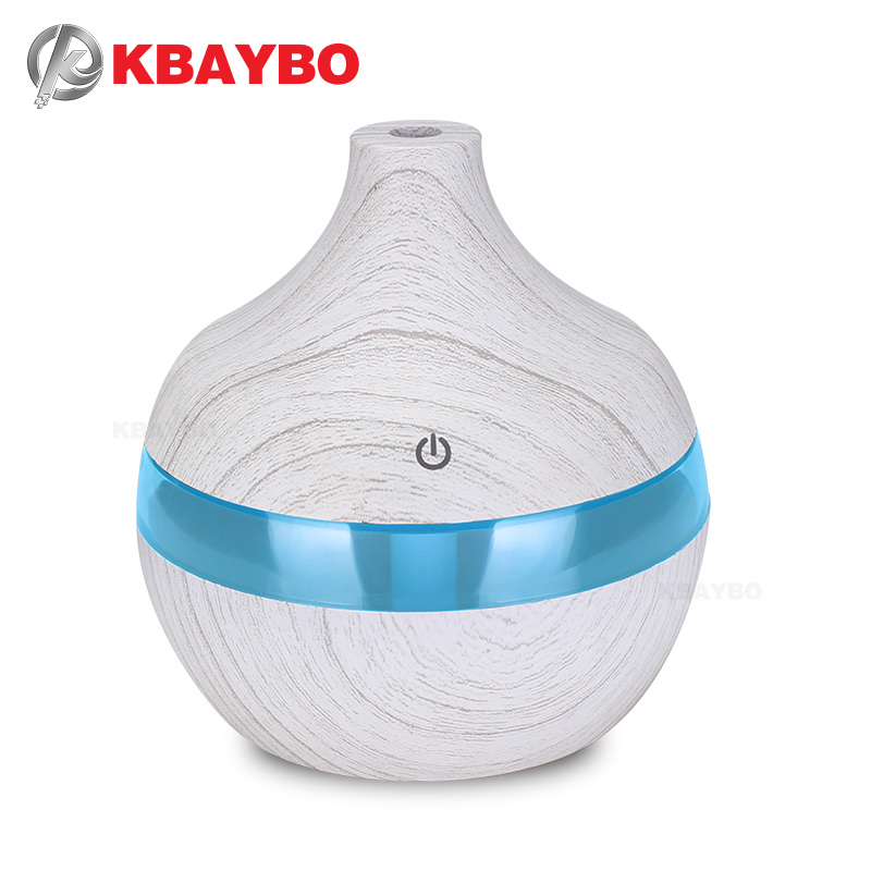 KBAYBO 300ml White Wood Grain Aromatherapy Essential Oil Diffuser 7 Color LED Light Ultrasonic Cold Fog Humidifier Air Purifier