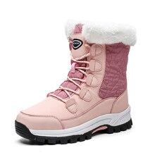 2019 de moda de invierno zapatos de mujer zapatos de cuero Rosa botas Plataforma de las mujeres botas de nieve de encaje plano con piel caliente gran oferta de gran tamaño