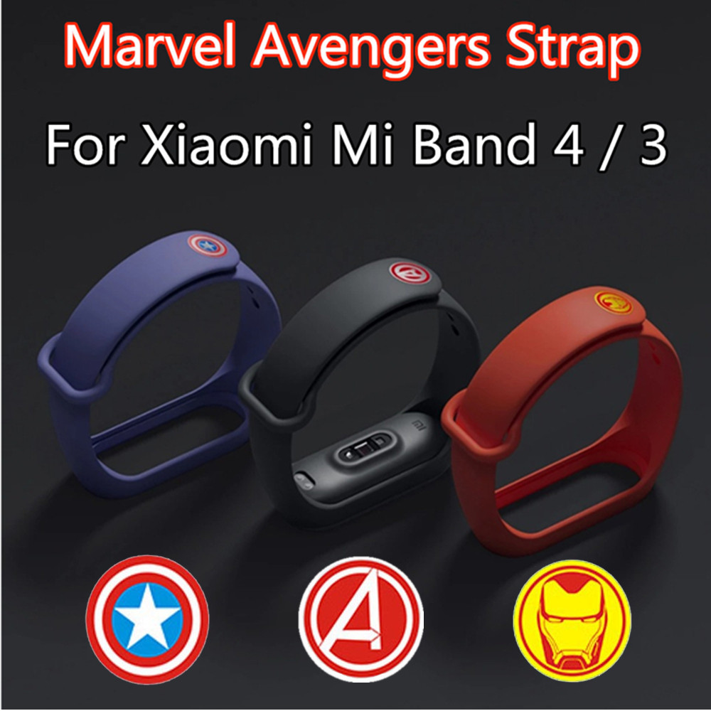 silicone Watch <font><b>Strap</b></font> For xiaomi <font><b>mi</b></font> <font><b>band</b></font> <font><b>4</b></font> 3 NFC New Marvel <font><b>Avengers</b></font> theme wrist <font><b>strap</b></font> for M3 M4 Sport Replacement bracelet belt image