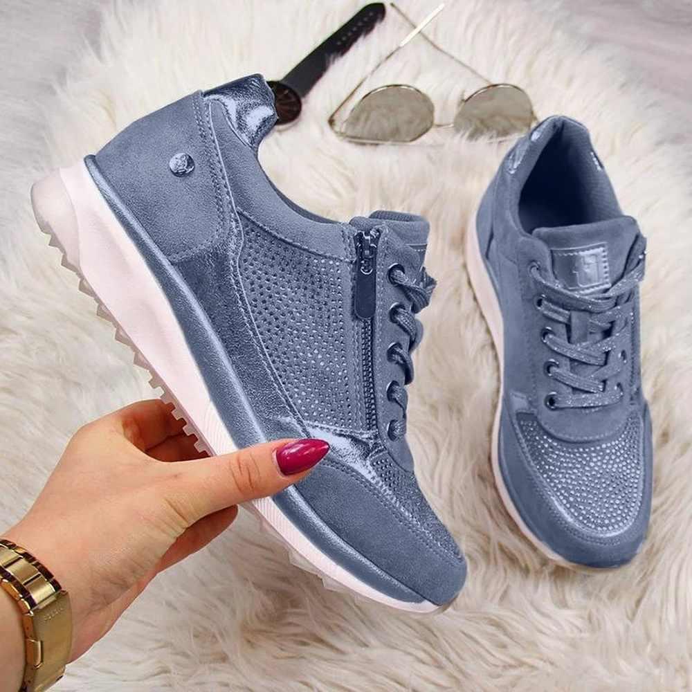 Zapatos casuales de mujer 2020 zapatos planos de cuña con cremallera con cordones cómodos mujer Zapatos zapatillas de vulcanizados de mujer