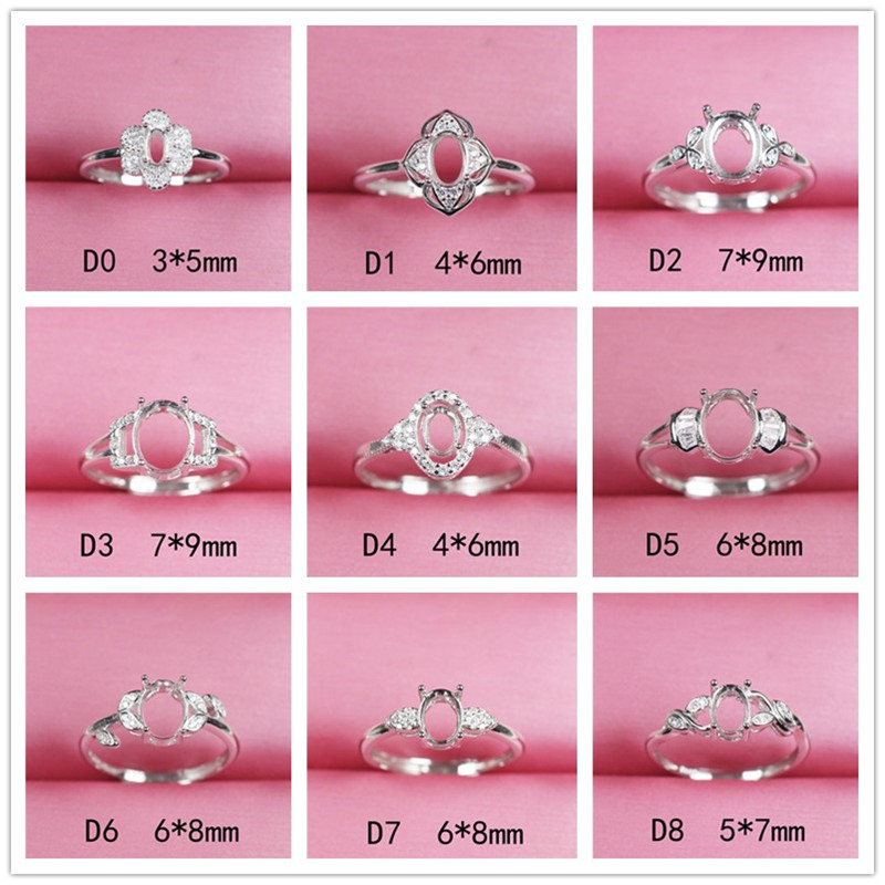 Empty Ring Setting Base Blank For DIY Making Sterling Silver 925 Facet Jewelry Findings Settings Without Stone Accessories D