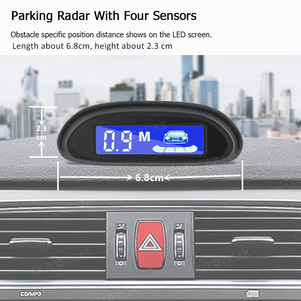 Car Auto Parktronic LED Parking Radar With 4 Parking Sensors Backup Car Parking Radar Monitor Detector System Backlight Display 3