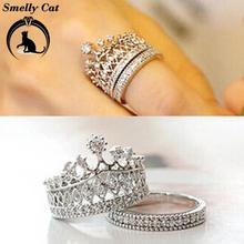 Smelly Cat Women's Crown Statement Ring 2 Band Stack Crown Crystal Stone Alloy Jewelry Gift Wedding Ring for Women on AliExpress