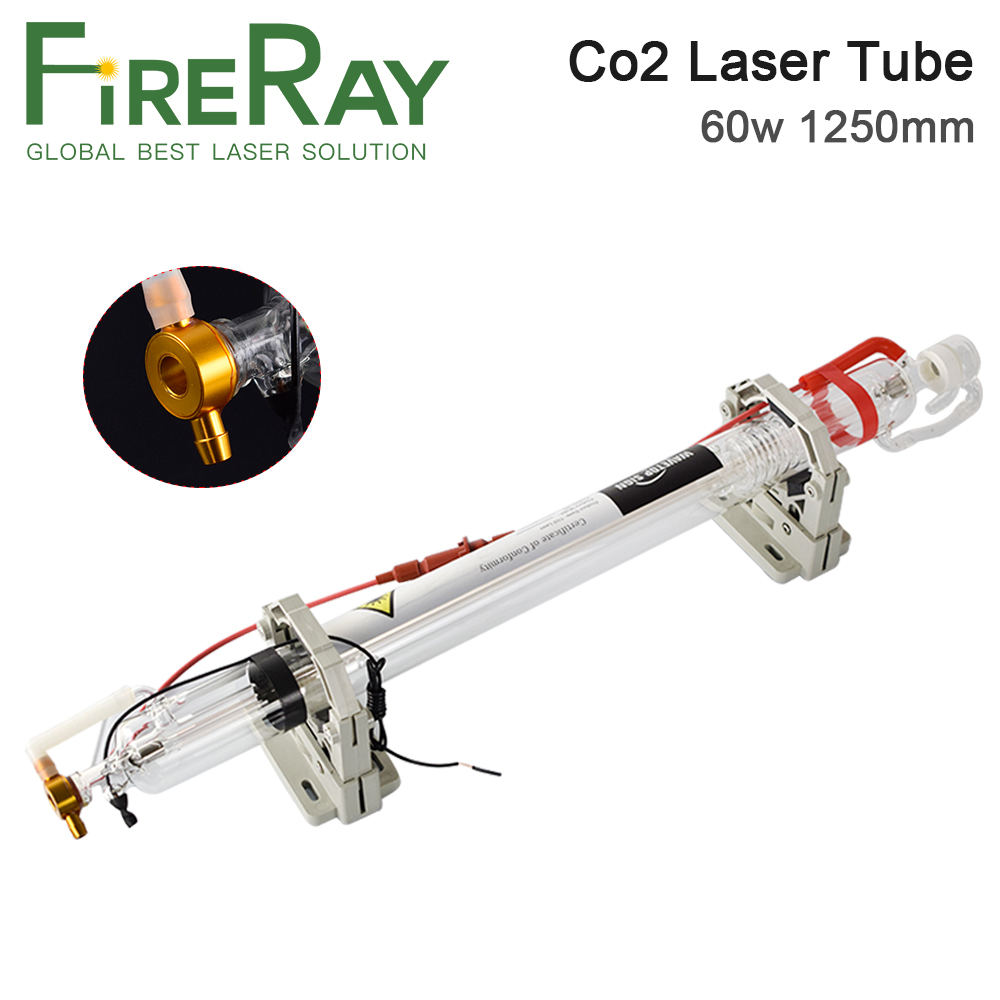 Fireray 60W Co2 Laser Tube Length 1250mm Dia. 55mm Upgraded Metal Head Glass Pipe For CO2 Laser Engraving Cutting Machine
