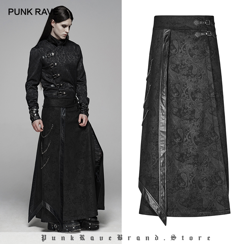 PUNK RAVE Men's Gothic Floral Long Overskirt Party Retro Palace Japan Samurai Cosplay Victorian Retro Jacquard Men Skirt Pants