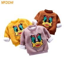 VFOCHI Girls Sweatshirts Winter Super Thick Children Long Sleeves Sweatshirt Cartoon Kids Clothes Unisex Boy