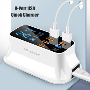Image 1 - 8 יציאות Led תצוגת USB מטען עבור אנדרואיד iPhone מתאם טלפון Tablet מטען מהיר עבור xiaomi huawei samsung