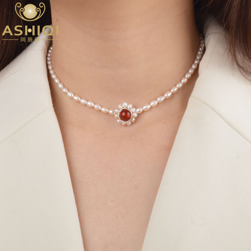 ASHIQI Natural Freshwater Pearl Choker Necklace Pendant Agate 925 Sterling Silver Jewelry For Woman Fashion Gift