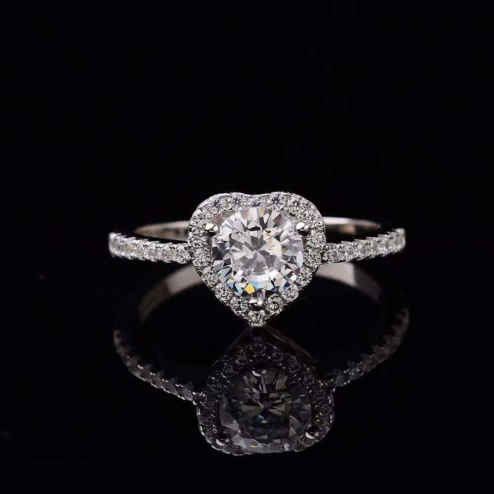 1ct D Color Moissanite Rings Heart S925 Sterling Silver Ring Women Fine Jewelry Certificate Drop Shipping