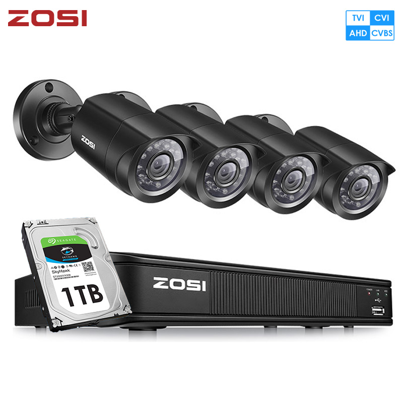 ZOSI H.264 8CH 720P 1080N AHD TVI Analog CCTV SYSTEM Surveillance Security Waterproof IP66 Nightvision Outdoor Camera DVR Kit